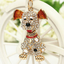 Pet Dog Crystal Keychain Cute Doggie Charming Bling Lovely Pendent Keyring Gift