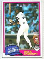 1981 TOPPS WILLIE RANDOLPH NEW YORK YANKEES #60 BASEBALL CARD