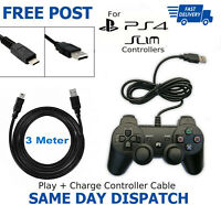 3m Play + Charging Charger Lead Cable For PlayStation PS4 Pro Controller GamePad