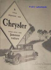 PUBLICITE de 1926  CHRYSLER FAMEUSE  VOITURE ART DECO FRENCH ORIGINAL AD