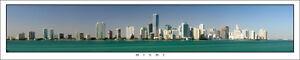 Poster Panorama Miami Florida Skyline Panoramic Fine Art Print - 10x50 Photo