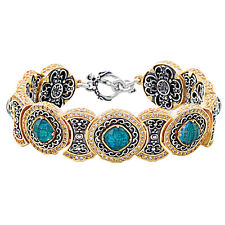 B363 ~ Sterling Silver Doublet Link Bracelet with Zircons