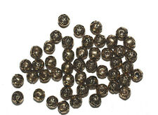 9mm Round Rosebud Antiqued Goldtone Metalized Metallic Beads