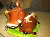 PUMBAA AND TIMON SCHMID VINTAGE HAND GLAZED FIGURINE, DISNEY LION KING, ~Damaged