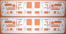 2 Stück Kennzeichenhalter WEISS - Nummernschildhalter Weiß white Satz Fabrikneu