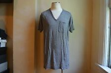 DOLCE & GABBANA D&G OVERSIZED V NECK & SINGLE POCKET GREY LINEN T SHIRT S 54 XL