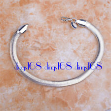 18K White Gold Filled 6mm Very WIde 7.5 inch Snake Chain Bracelet Jewelry H964