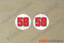 PEGATINA STICKER VINILO ADHESIVO ADESIVI MOTO 58 Marco Simoncelli 2uds de 4x4 cm