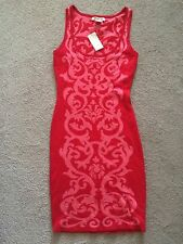 Arden B Jacquard Sweater Knit Tank Dress Coral Red Extra Small