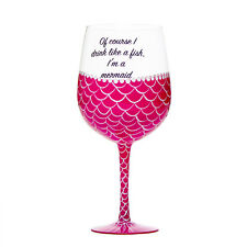 Giant Mermaid Wine Glass in Pink Or Blue Holds a Full Bottle of Wine