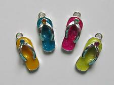 12 Enamel w/rhinestone FLIP FLOP SANDAL CHARMS beach pool party LUAU TROPICAL