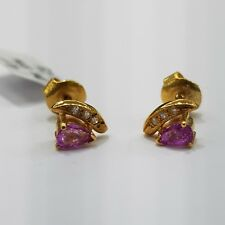 9ct 9K Yellow Gold Stud Earrings with Natural Pink Sapphire and Diamonds | New