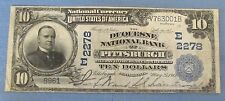 1902 10 DOLLAR THE DUQUESNE NATIONAL BANK OF PITTSBURGH CHARTER 2278