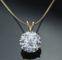 Round Brilliant Cut 14K Yellow Gold Pendant 3 Ct Necklace With Box Chain