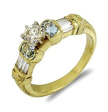Women's Real Natural Diamond & Aquamarine 18k SOLID Yellow Gold Ring