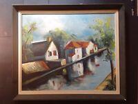 Vintage Oil Painting - Landscape - Impressionism - 1960s - Canal - Modern Art