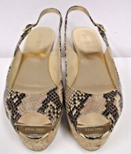 "JIMMY CHOO  ""Praise"" Animal Print Leather Slingback Cork Wedge Sandal - Size 40"