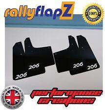 rallyflapZ PEUGEOT 206 Rally Style Mud Flaps & Fixings Black Logo White 4mm PVC