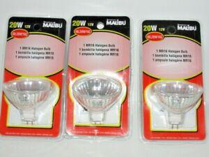 lot of 3 - Malibu 20W MR16 Halogen Clear Bulbs 12V Landscape Yard Light ML20W16C