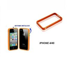 funda carcasa BUMPER para IPHONE 4 4S BOTONES METALICOS COLOR NARANJA