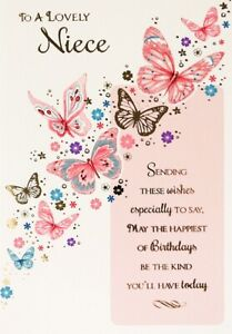 """Traditional Classy Butterflies & Flowers """"LOVELY NIECE"""" Birthday Card"""