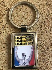 PORTE CLÉ MÉTAL RECTANGLE CHROMÉE Président De Gaulle Oui Algérie Nouvelle 🇫🇷