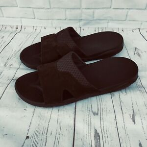 CROCS Swiftwater Iconic Comfort Leather Slide Sandals Men Size 15  Brown 205618