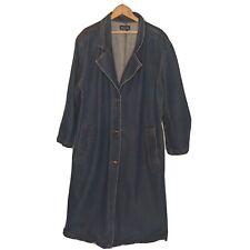 Vintage 1990's Women's Plus 22/24 Long Denim Baccini 100% Cotton Denim Jean Coat