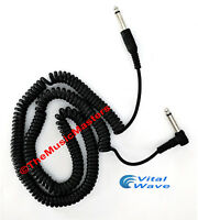 """20' ft 1/4"""" M-M Coiled """"L"""" Guitar Instrument Amp Audio Sound Cable Wire VWLTW"""