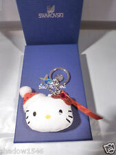 NIB Swarovski Crystal Hello Kitty Holiday Key Ring Bag Charm Fob 1162835
