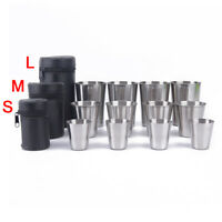 4pcs Stainless Steel Cover Mug Camping Cup Drinking Coffee Tea Beer With Cas GX