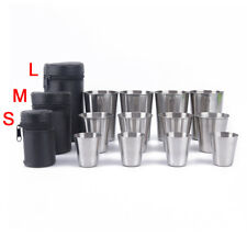 4pcs Stainless Steel Cover Mug Camping Cup Drinking Coffee Tea Beer With Cas hy