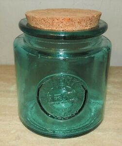 100% Authentic Recycled Glass Jar Canister W/Cork Lid Badge Great Green Color