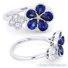 18k White Gold Right-Hand Flower Ring 2.04 ct Pear-Shape Sapphire Round Diamond