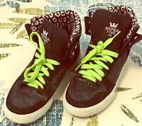 Supra FTWR Kids 4.5 Black High Top Skateboarding Sneakers Shoes Sparkles Suede