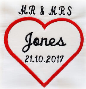 """personalised embroidered wedding napkins 100% cotton 16"""" gift love any name"""