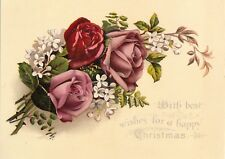 """1890-1899 Gorgeous Roses """"With the Best Wishes for Christmas"""" Victorian Card"""