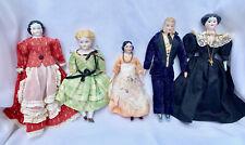 Antique Bisque & Porcelain Dollhouse Dolls Entire Family Of 11 Pink Tint, German
