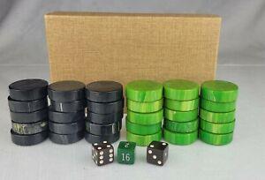 "Vintage Boxed Set Of 30 Bakelite 1.5"" Checkers & Dice Green Black Marble"
