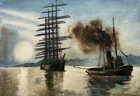 Philipp Karl Seitz 1901 - 1982 Viermaster Segelschiff Schlepper Hafeneinfahrt