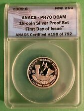 2009-S N. Mariana Islands Silver Quarter - ANACS PR70 - Perfect Coin - 1st Day