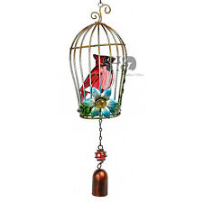 New listing H&D Birdcage Style Stained Glass Outdoor Wind Chimes Blue Flower Red Bird Gift