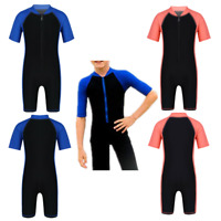 Kids Boys Girls Wetsuit Shorty Swimwear Zippered Swimsuit Surfing Diving Suit