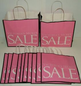 """Lot of 12 VICTORIA'S SECRET Pink SALE Shopping Gift Bags 10""""x10""""x5"""" NEW"""