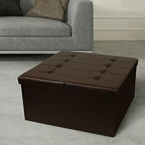 Otto & Ben Coffee Table with Smart Lift Top Tufted Folding Faux Leather Trunk...