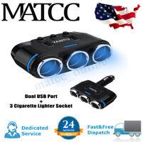 Dual USB Port 3-Way Car Cigarette Lighter Socket Splitter Adapter Charger 12-24V