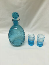 Gorgeous Vintage Turquoise Etched Glass Decanter With Two Shot Glasses