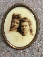 Opalotype Of Twin Girls In Brass Oval Frame-Pretty