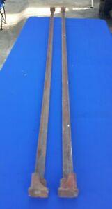 Vintage Cast Steel Iron Metal Bed Frame Side Rails Square w/Triangle Ends