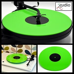 Gloss Green Acrylic Turntable Platter Mat. Fits REGA, PRO-JECT Record Player